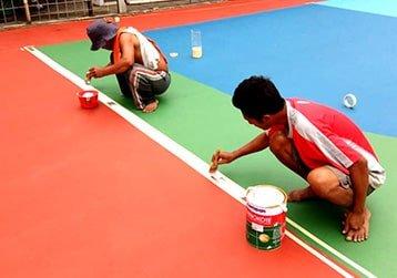 Pembuatan garis lapangan badminton flexi pave