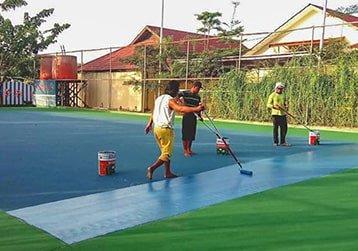 pengecatan lapangan badminton flexi pave